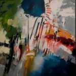 powerfield 2 acryl op canvas op zwarthouten baklijst 600,00