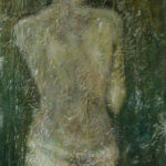 vrouw in witte doek (acryl op 3D doek 100 x 50 cm)