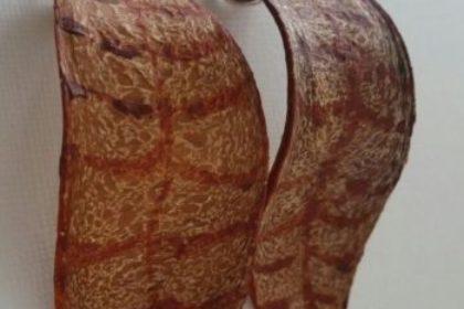 Oorbellen bruin met rode strepen, megahoni, zilver