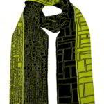 Parallel gebreide sjaal drie kleuren jacquard 3D structuur, 100% extra fijne merino wol, lengte 220 cm, € 129,- div. kleurcombinaties